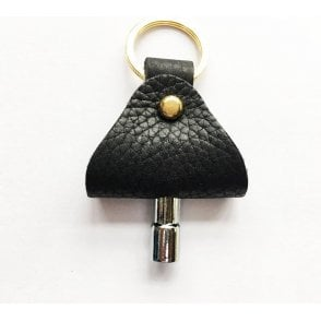 Footes Black Leather & Brass Drum Key Holder & Key