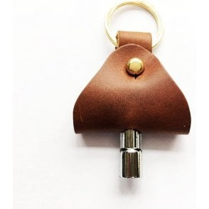 Footes Brown Leather & Brass Drum Key Holder & Key