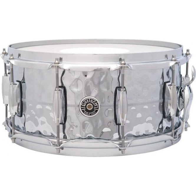Gretsch 14 x 6.5 Brooklyn Hammered Chrome On Brass Snare Drum - USA GB4164HB | Buy at Footesmusic