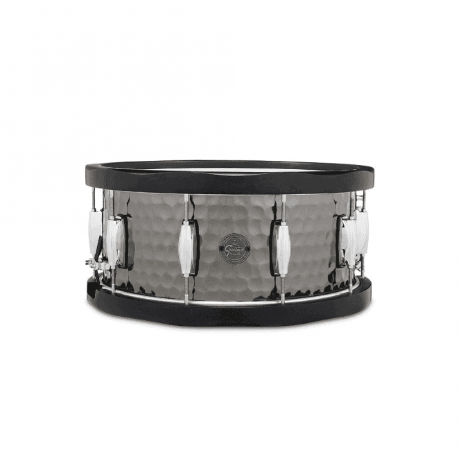 Gretsch 14 x 6.5 Hammered Steel Wood Hoop Snare S16514WHBSH | Buy at Footesmusic