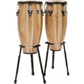 "LP Aspire Conga Set LPA647BSW - 11"" & 12"" Inc Stands - Satin Walnut Finish"