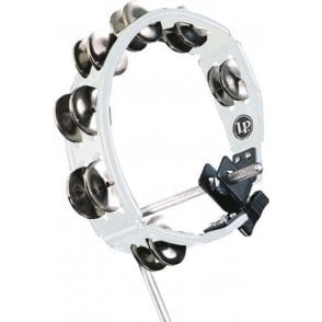 LP Cyclops Mountable Tambourine LP162 White With Steel Jingles | Buy at Footesmusic