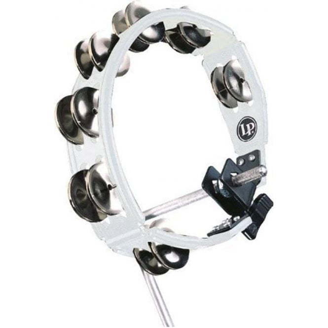 LP Cyclops Mountable Tambourine LP162 - White With Steel Jingles