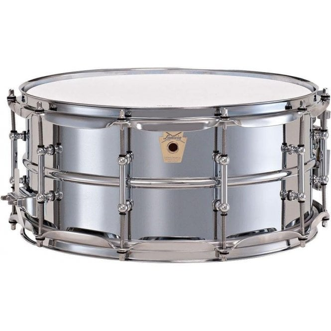 Ludwig 402 14x6.5 Chrome on Brass Supraphonic Snare Drum - Tube lugs LB402BT | Buy at Footesmusic
