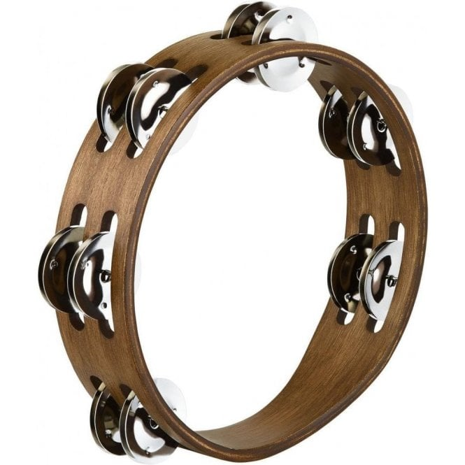 "Meinl CTA2WB Compact 8"" Tambourine Walnut With Steel Jingles 