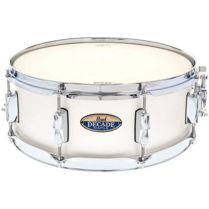 Pearl 14x5.5 Decade Maple Snare Drum Satin White DMP1455SC229 | Buy at Footesmusic