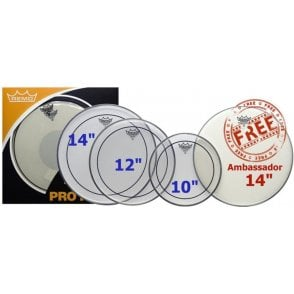 "Remo ProPack 10"", 12"", 14"" Pinstripe Clear"