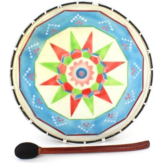 """Shamanic Drum - Painted Large 15"""" Including Mallet"""