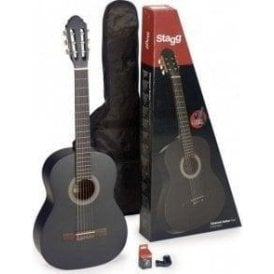 Stagg 4/4 Classical Guitar Inc Gig Bag - Black Finish
