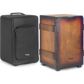Stagg Cajon Crate Style Sunbrust Brown Tobacco Finish Including Padded Gig Bag
