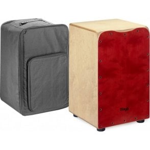 Stagg Cajon Red Finish Including Padded Gig Bag