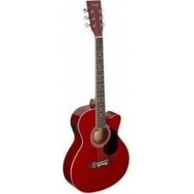 Stagg Electro Acoustic Auditorium Cutaway Guitar - Red