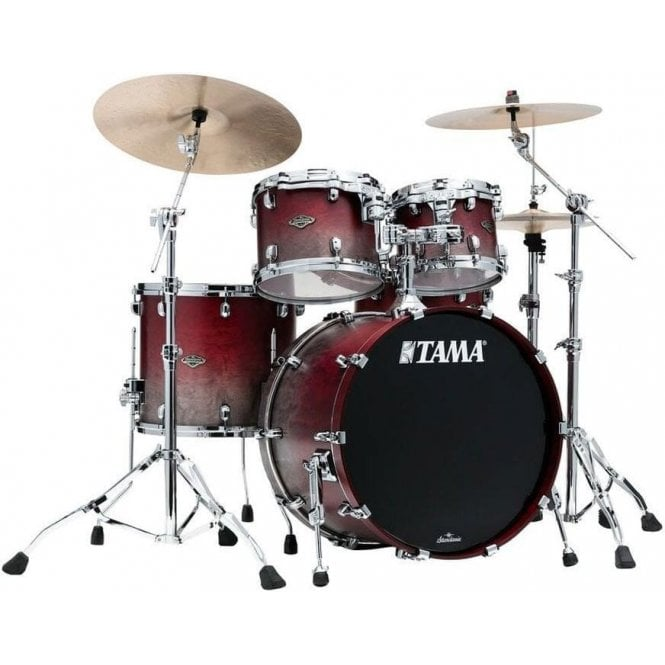 Tama Starclassic Walnut/Birch 4 Drums - Satin Burgundy Fade | Buy at Footesmusic