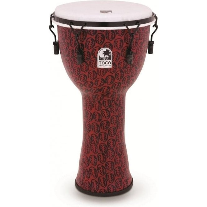 "Toca Freestyle II Bolt Tuned 14"" Djembe & Bag - Red Mask Finish"