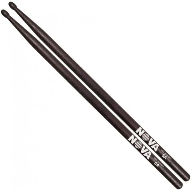 Vic Firth Nova 5a Wood Tip Hickory Sticks - Black Finish