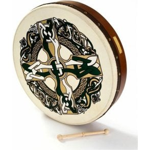 "Waltons Bodhran 18"" Celtic Cross with Book, Bag & Tipper"